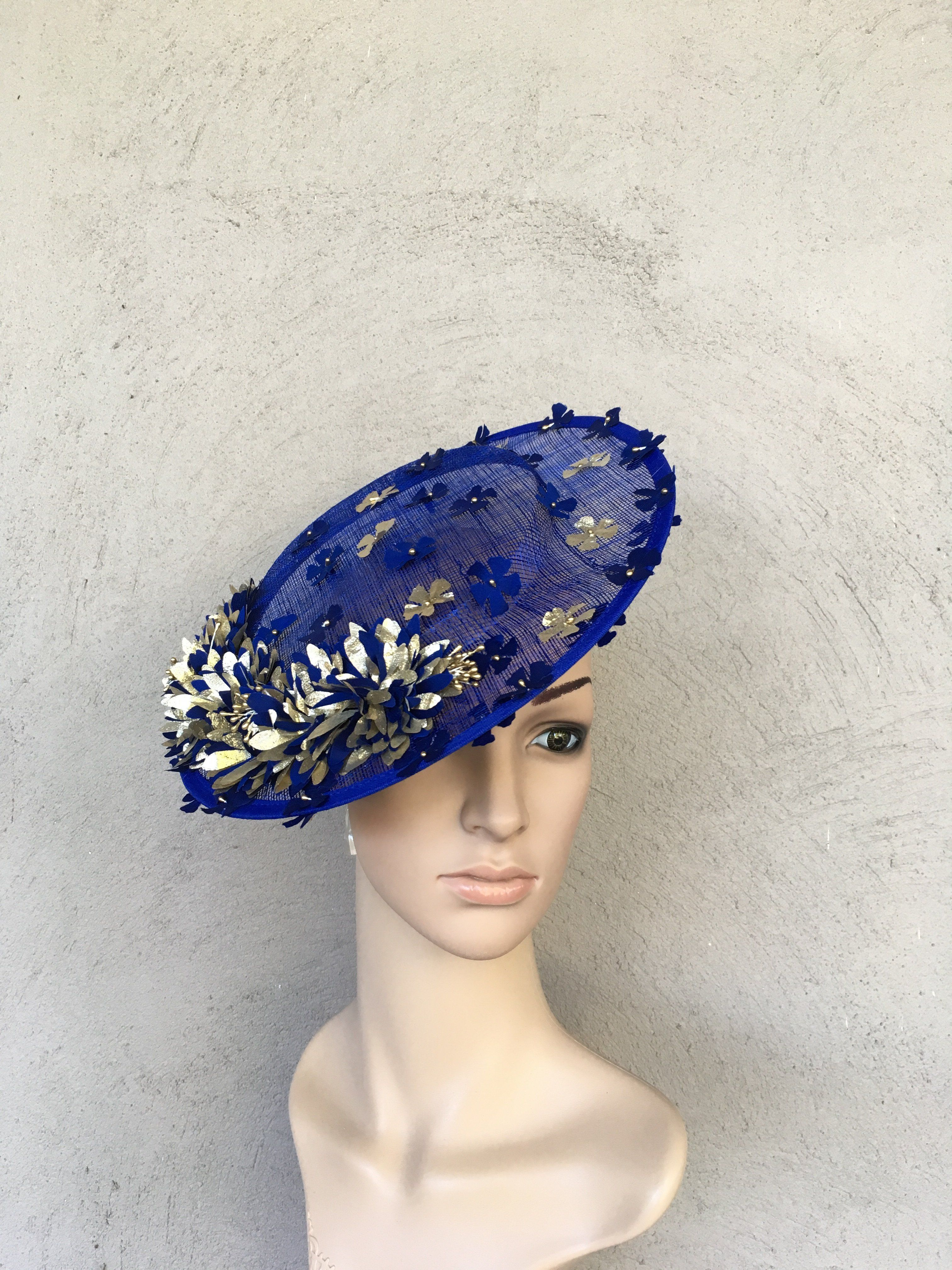 Royal Blue and gold Saucer Fascinator Featuring Hand made silk flowers  Lightweight and easy to wear aaff4f5f9e8