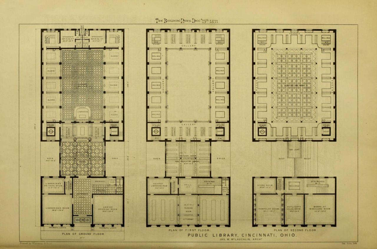 Floor plans of the Public Library Cincinnati Buildings Floor