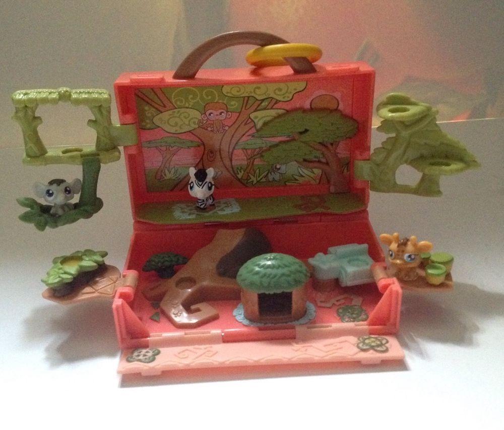Lps Littlest Pet Shop Mini Safari Jungle Play Set Elephant Giraffe Zebra Hasbro Littlest Pet Shop