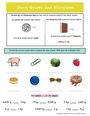 Worksheet Using Grams And Kilograms Practice Choosing The