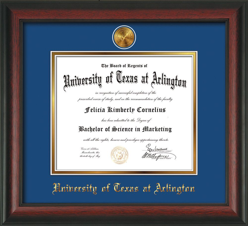 University of Texas - Arlington Diploma Frame - Rosewood - w/24k ...