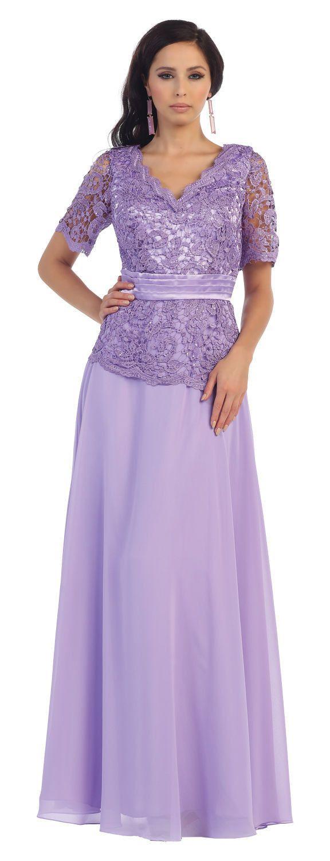 Long mother of the bride dress short sleeve full length