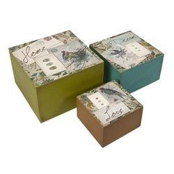 Decorative Lidded Storage Boxes In The Birches Vintagestyle Bird Postcard Lidded Storage Boxes