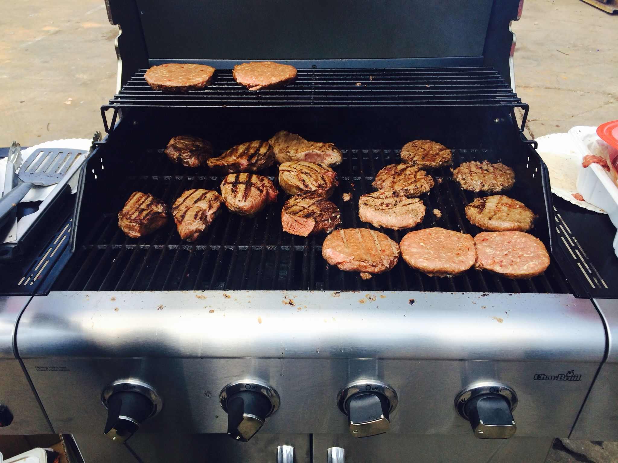 Burgers and steaks on the grill. Dan Jape reliable heating