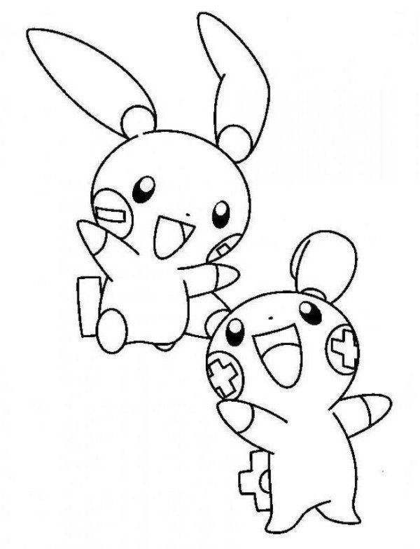 Pokemon Lugia2 Gratis Malvorlage In Comic: Plusle And Minun Electric Pokemon Coloring Page
