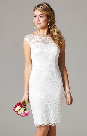 Ein Etui-Brautkleid aus Spitze mit Knielänge. Ein wunderschönes ...