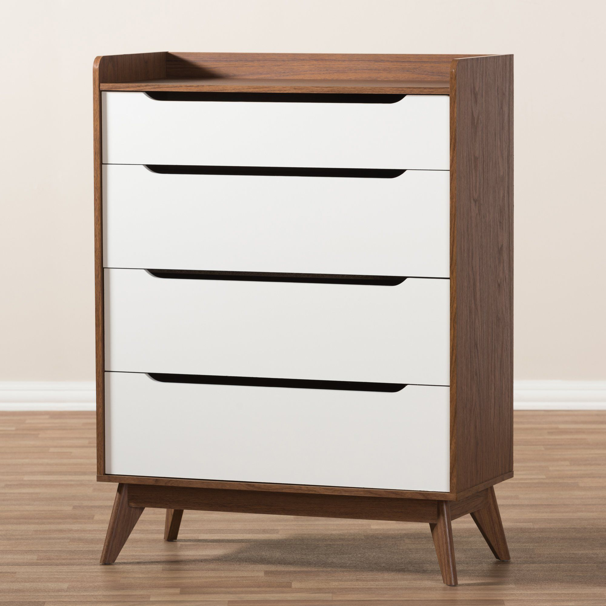 Brydon 4 Drawer Walnut Chest Mid Century Modern Wood 3 Drawer Storage Storage Drawers