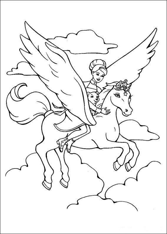 Ausmalbild Einhorn Mit Fee Unicorn Coloring Pages Horse Coloring Pages Fairy Coloring Pages