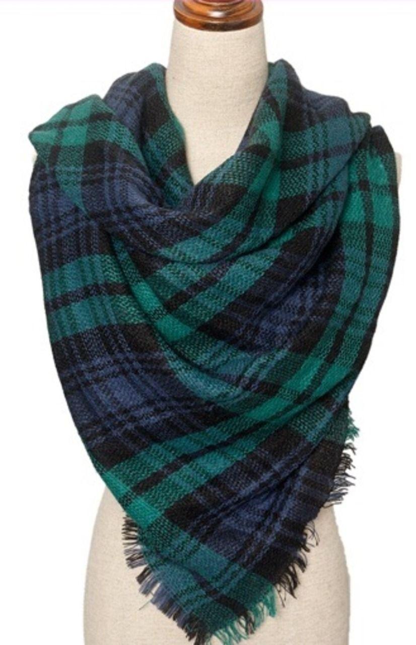bufandas modernas rebozos abrigos tartn moda tela escocesa de tartn azul verde azul y accesorios de moda mantas