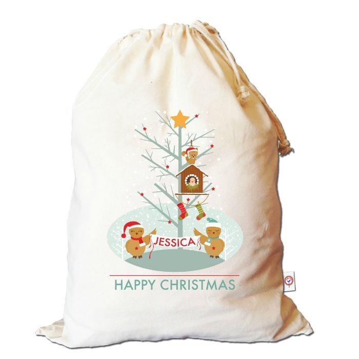 Winter owls Santa sack