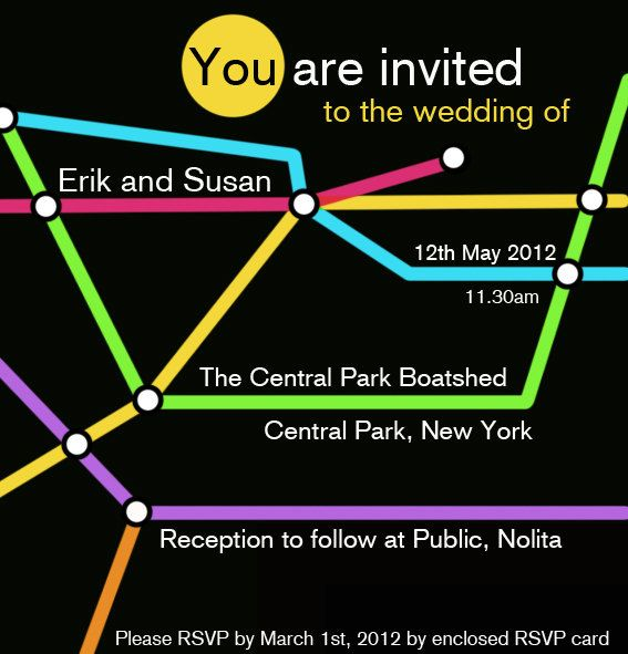 New York City Subway Wedding Invitation Graphic Template