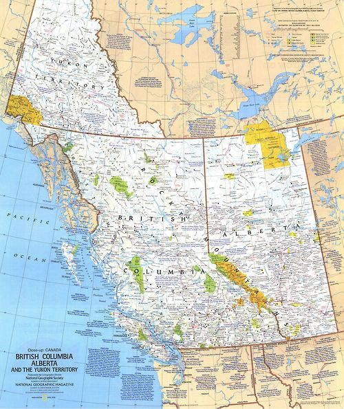 Road Map Western Canada canada   Map, Travel art print, National geographic maps