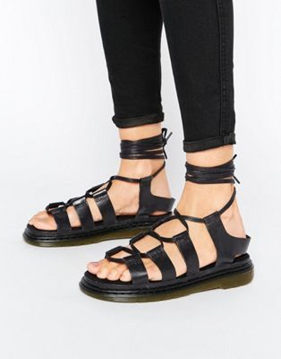 Dr.Martens Kristina Black Womens Leather Ghillie Slingbacks Strappy Sandals