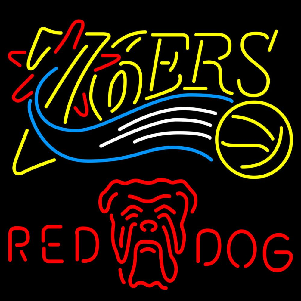 Red Dog Philadelphia 76ers NBA Neon Beer Sign, Red Dog with NBA | Beer with Sports Signs. Makes a great gift. High impact, eye catching, real glass tube neon sign. In stock. Ships in 5 days or less. Brand New Indoor Neon Sign. Neon Tube thickness is 9MM. All Neon Signs have 1 year warranty and 0% breakage guarantee.