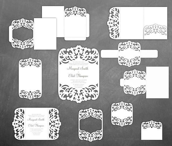 Set Lace Wedding Invitation Templates Pocket  Gate Fold Card