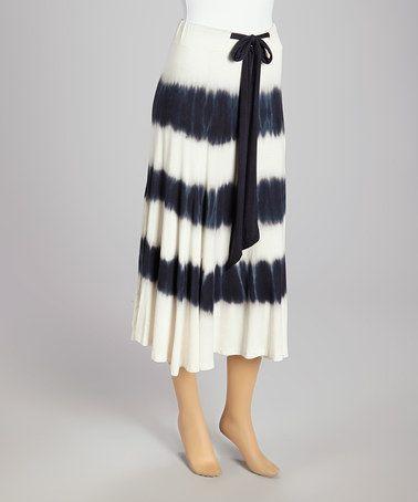 Love this Black & Ivory Stripe Tie-Dye Maxi Skirt by Lapis on #zulily! #zulilyfinds
