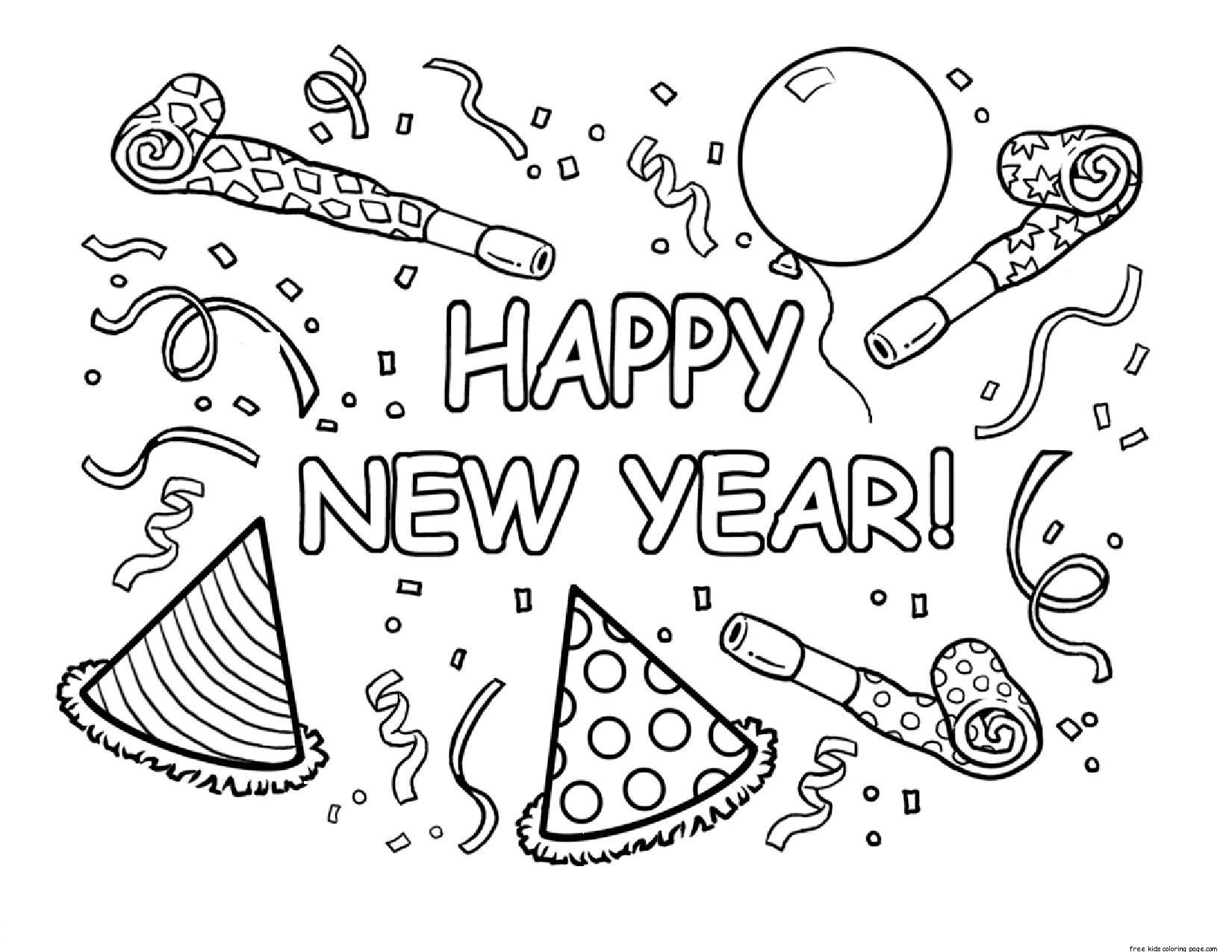Happy new year coloring pages to