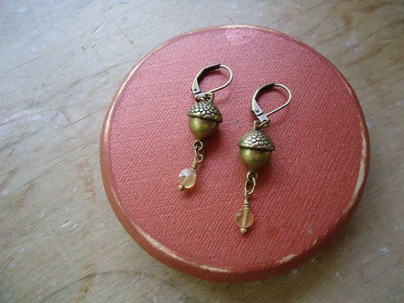 brass acorn earrings by ljctree on Etsy, $8.00