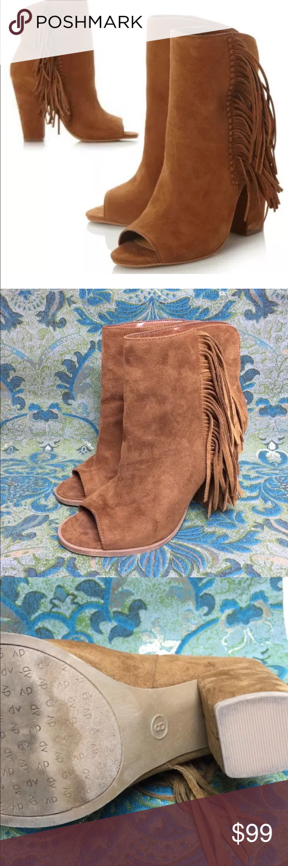 Dolce Vita Brown DV Mazarine Fringe Peep Toe Boots ◑ Excellent Condition ◑ Ships within one day of payment.   ◑ No trades   ✿ Thank you for looking & feel free to check out my other items! ✿ Dolce Vita Shoes Ankle Boots & Booties