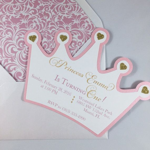 Princess crown invitation, pink and gold, crown invitation, baby ...