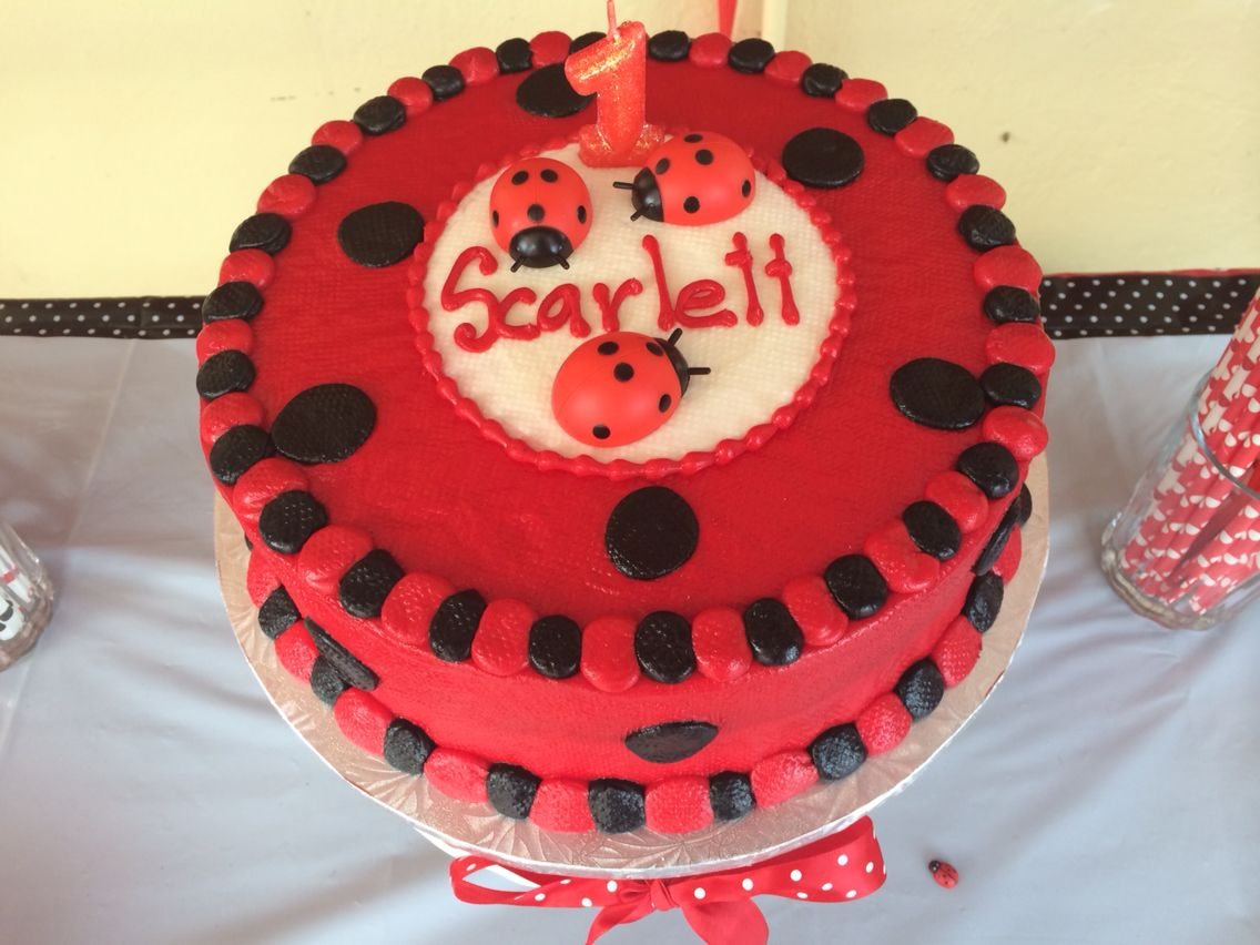 Ladybug First Birthday Cake Scarletts 1st Birthday Pinterest