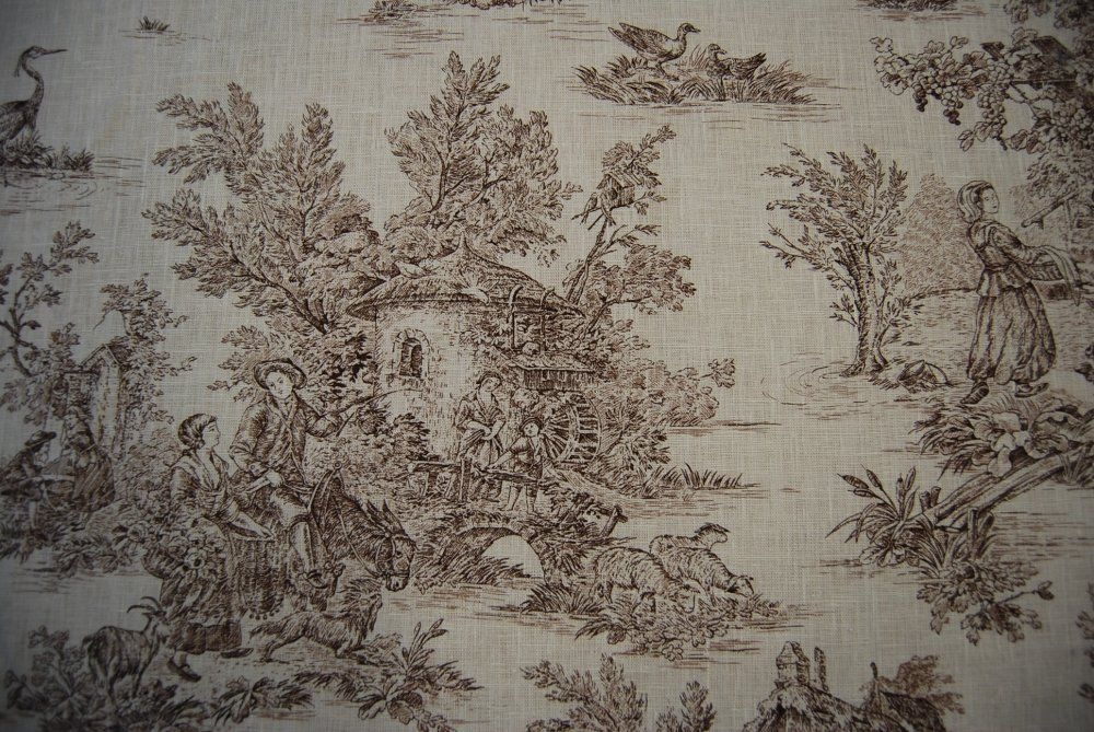 Brown And White Toile Fabric | Toile Classic Harvest Toile Brown and Cream Linen Fabric SALE! $19 per ...