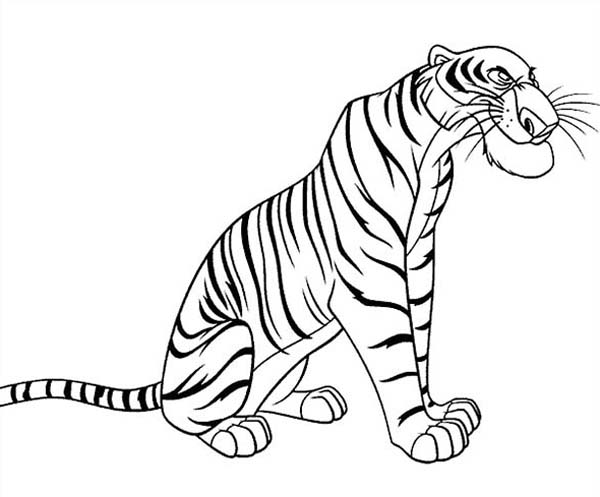 Shere Khan The Bengal Tiger In The Jungle Book Coloring Page Kids Play Color In 2020 Coloring Books Coloring Pages Jungle Book