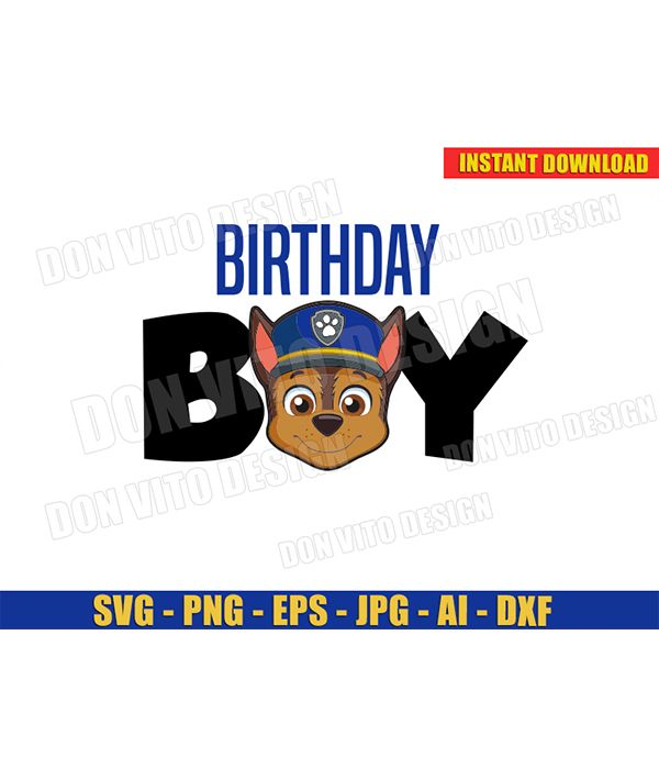 Birthday Boy Chase Face (SVG dxf png) Paw Patrol Dog Police Head Cut Files Vector Clipart Silhouette Cricut TShirt Design Party Kids DIY - Silhouette cutting files, Paw patrol, Clip art, Boy birthday, Tv show family, Dxf -  You will receive ? 1 PNG Files > High resolution 300 DPI and Transparent Background ? 1 SVG Files > As vector cut images ( eg Cricut) ? 1 EPS Files > You can edit them with design software ( eg Ilustrator) ? 1 JPG Files > Digital image ( eg Photoshop) ? 1 DXF Files > As vector cut images ( eg Silhouette) ✅ This listing contains 1 additional PNG file that is mirrored for iron on transfer or heat press purposes