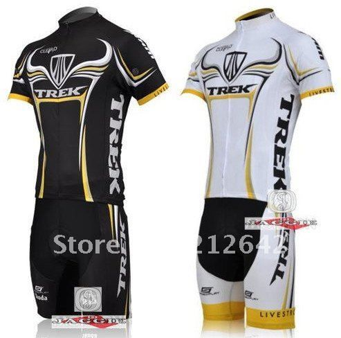 BrandNew 2 colors TREK   black   white   Short Sleeve Cycling Clothing  Jersey   Bib Shorts Sets. Free shipping!-in Sports Jerseys from Apparel    Accessories ... 2b3c863df