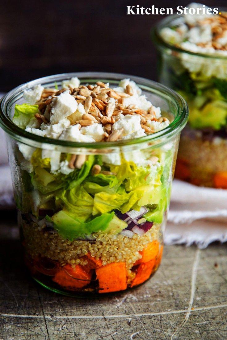bunter, gesunder und sättigender im Glas mit Süßkartoffel und Feta ist manchmal alles, was du br