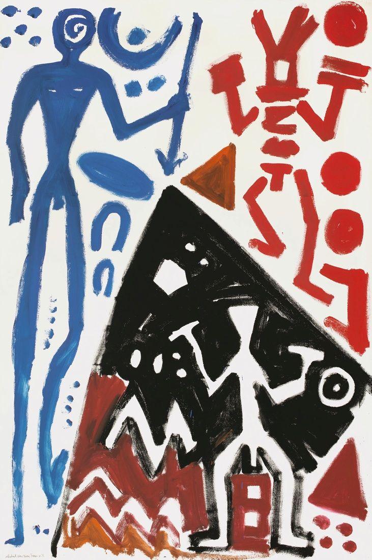 "A.R. Penck (d.I. Ralf Winkler)  Dresden 1939 – lives in Dublin and Dusseldorf     ""ABSCHIED VON EINEM TRAUM""  1982. Synthetic resin on canvas.   300 x 200 cm (118 ⅛ x 78 ¾ in.)"