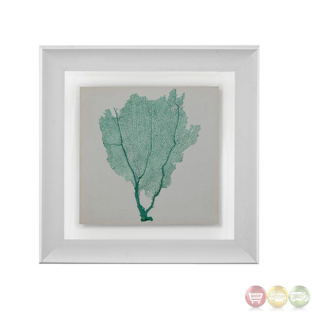 Sea fan green coral framed wall art aec home decor