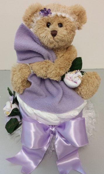 Teddy Bear Baby Shower For Girl Diaper Cake By