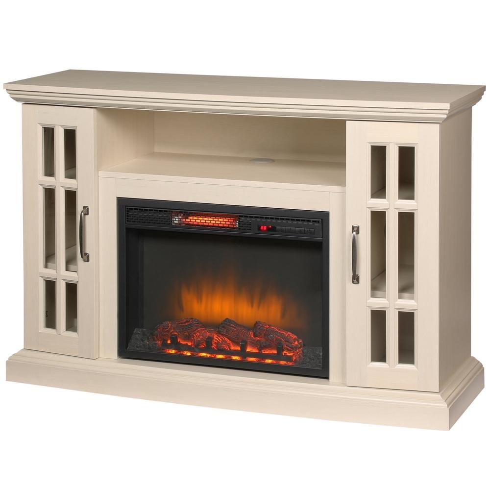 Edenfield 48 In Freestanding Infrared Electric Fireplace Tv Stand In Aged White Fireplace Tv Stand Big Lots Fireplace Electric Fireplace Tv Stand