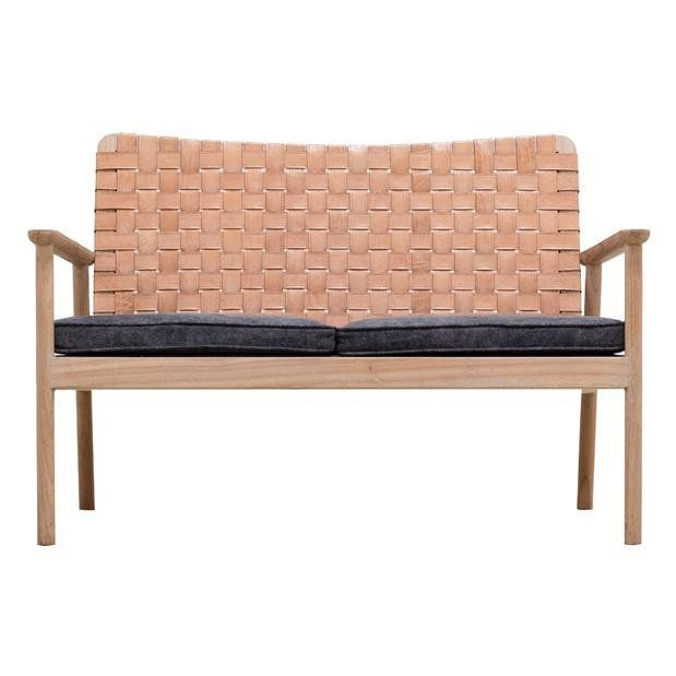 LOVESEAT | Woven Leather Seat In Natural By Globewest