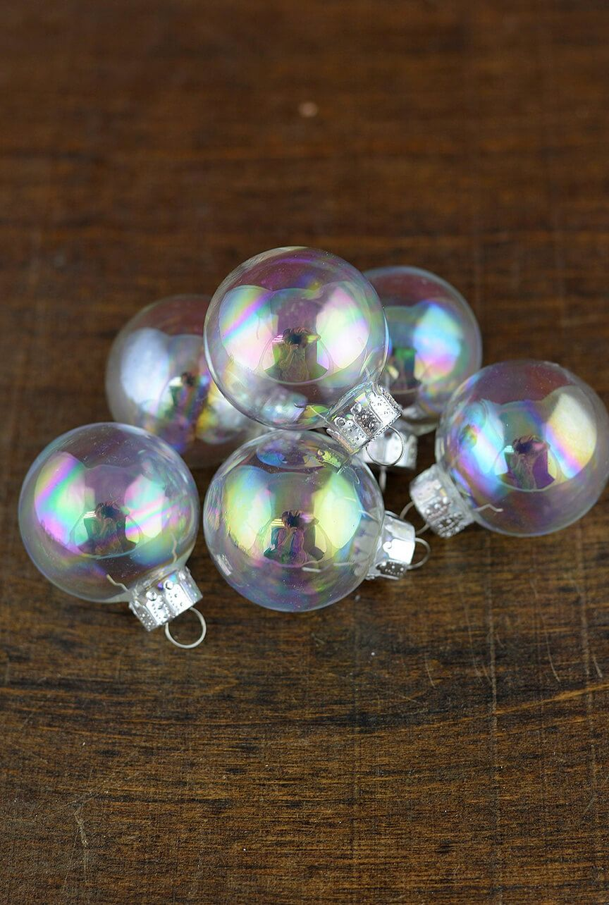 20 Clear Glass 1 37in Ornament Balls Iridescent 35mm Holidays