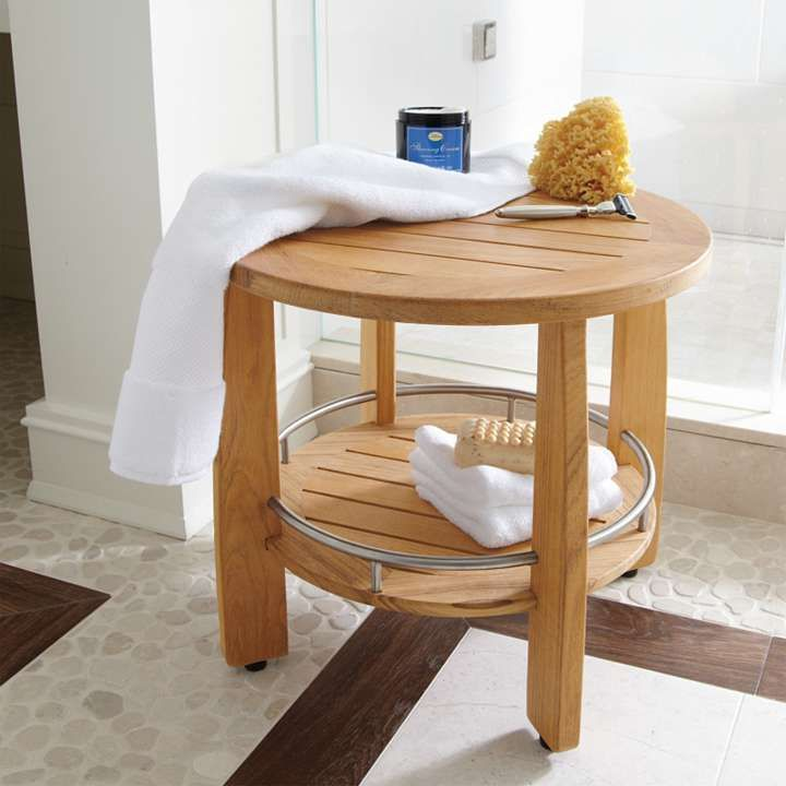 Spa Teak Round Shower Seat from Frontgate $200 | Spa Day | Pinterest ...