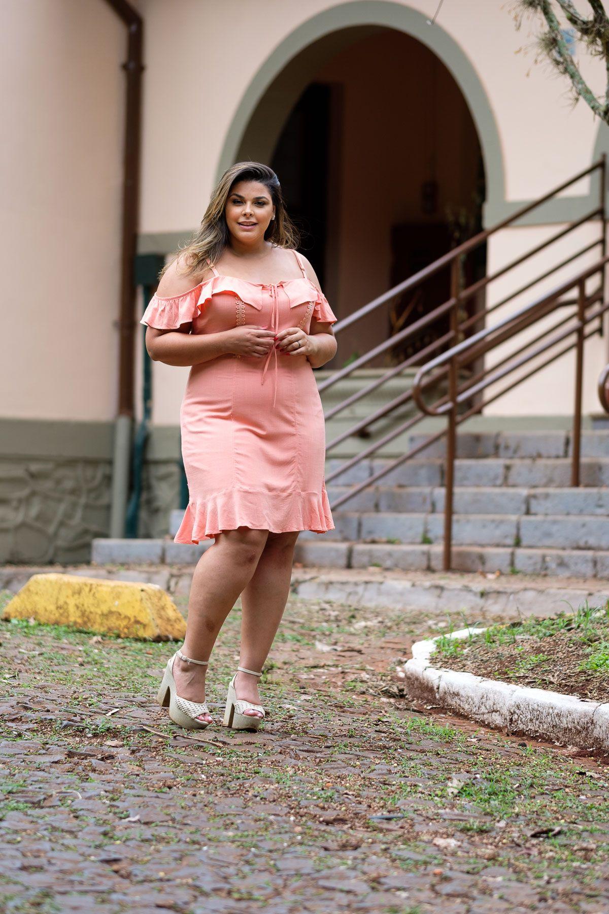 0a1698448 vestido ciganinha, linho com elastano, vestido coral, vestido de alcinha, vestido  plus