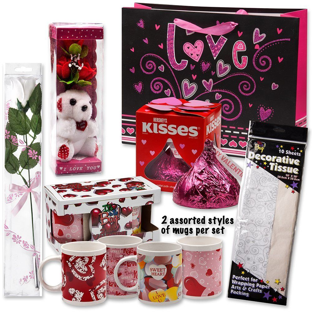 Valentine Gift Set Complete With Gift Bag Tissue Paper Red Rose I Love You Mini Bear 2 Valentine Mugs 1 Large Of Hershey Red Kiss Http Shop Stupidar
