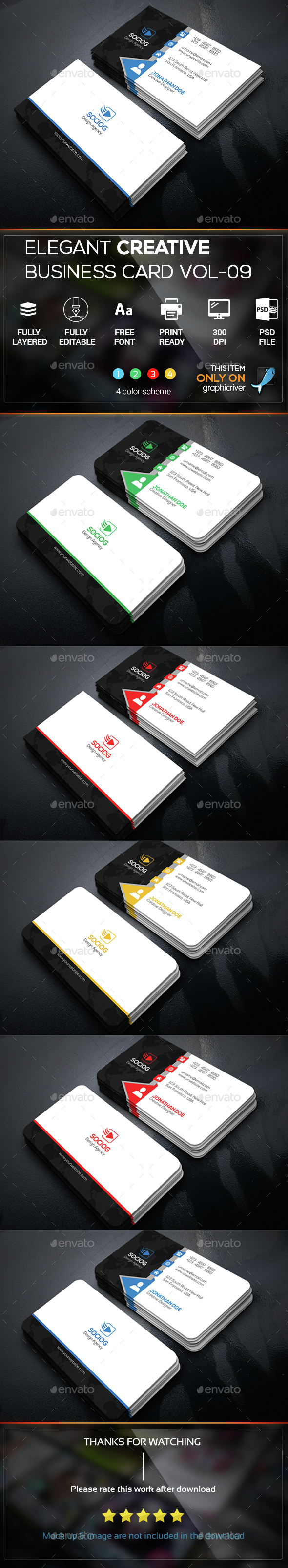 Elegant creative business card vol 09 business card pinterest elegant creative business card vol 09 reheart Choice Image