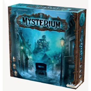 """Mysterium - New American release with new, comic-bookish artwork. Also, it brought back some of the cooler components like the crystal balls and a """"ghost shield"""" and different card sizes for the ghost, which really makes much more sense than the polish version. Still a cool game!"""
