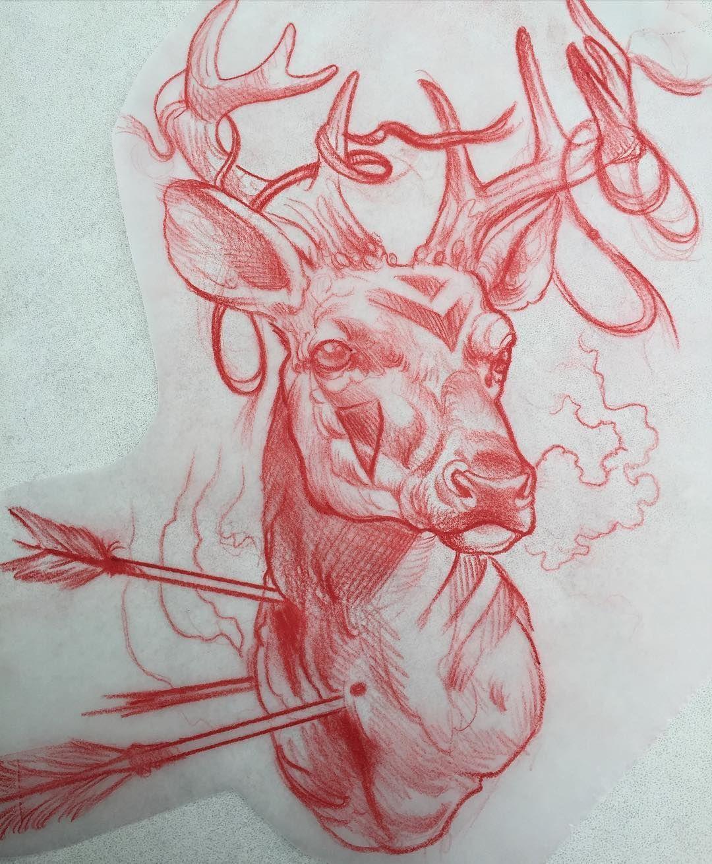 Phil Kaulen Tattoo on Instagram Werbungadvertisement Some sort of native Ritual deer for today