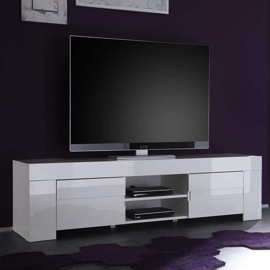 meuble tv blanc laque design living
