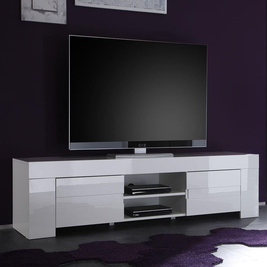 meuble tv blanc laque design living