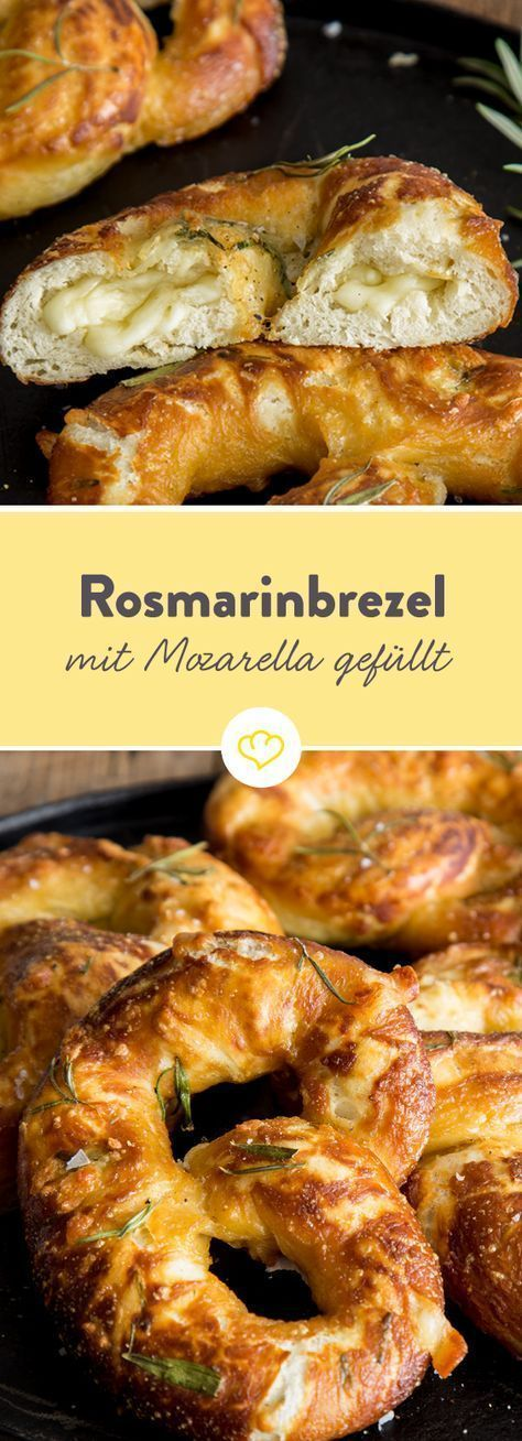 Photo of Fluffy rosemary pretzel filled with mozzarella and parmesan