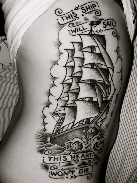 This ship will sail. This heart won't die. by Maybe Just Rex, via Flickr    Neat old school art