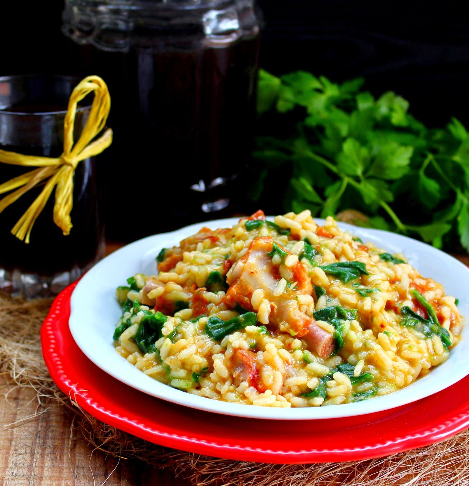 Nárwen's Cuisine: Risotto de Botelo com Tomate Seco e Espinafres