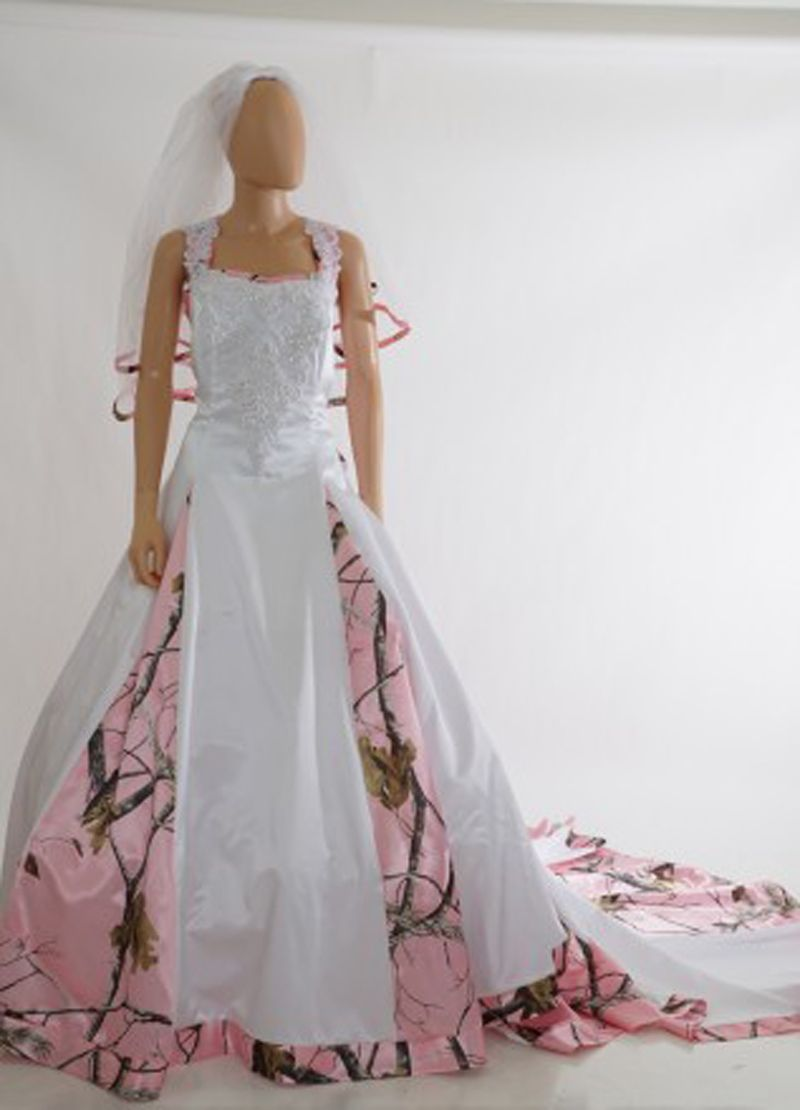 Click to buy ucuc straps pink camo wedding dresses camouflage