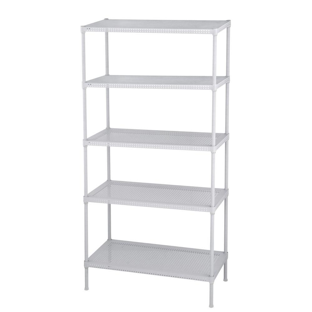 Edsal Perforated 71 In H X 35 In W X 18 In D 5 Tier Steel Shelving In White Pws351871 5w The Home Steel Shelving Steel Shelving Unit Garage Shelving Units