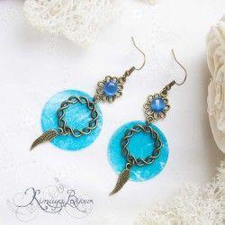 Boucles d'oreilles nacre bleu